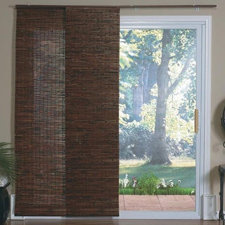 Lewis Hyman Bamboo Panel Track Sliding Window Shade in Java Mahogany
