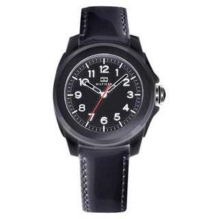 Tommy Hilfiger Women's Black Steel and Leather Strap Sport Watch