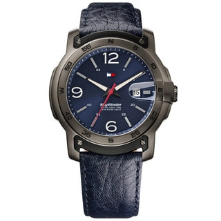 Tommy Hilfiger Men's Skywinder Stainless Steel and Leather Strap Watch with Blue Dial