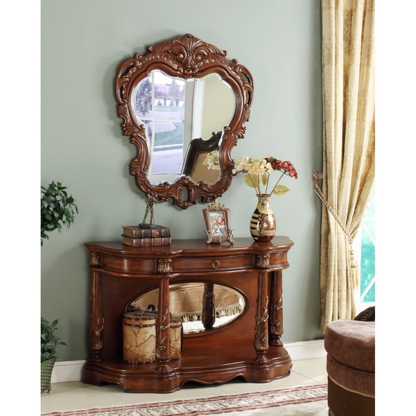 Vince 2 piece console table mirror set free shipping today 15700305 - Mirrored console table overstock ...