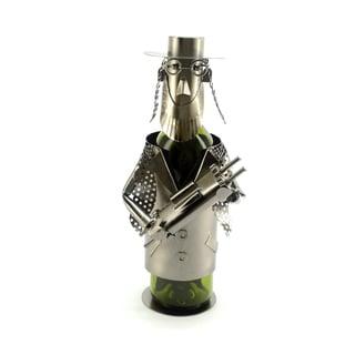 Recycled Metal Rabbi with Torah Wine Bottle Holder