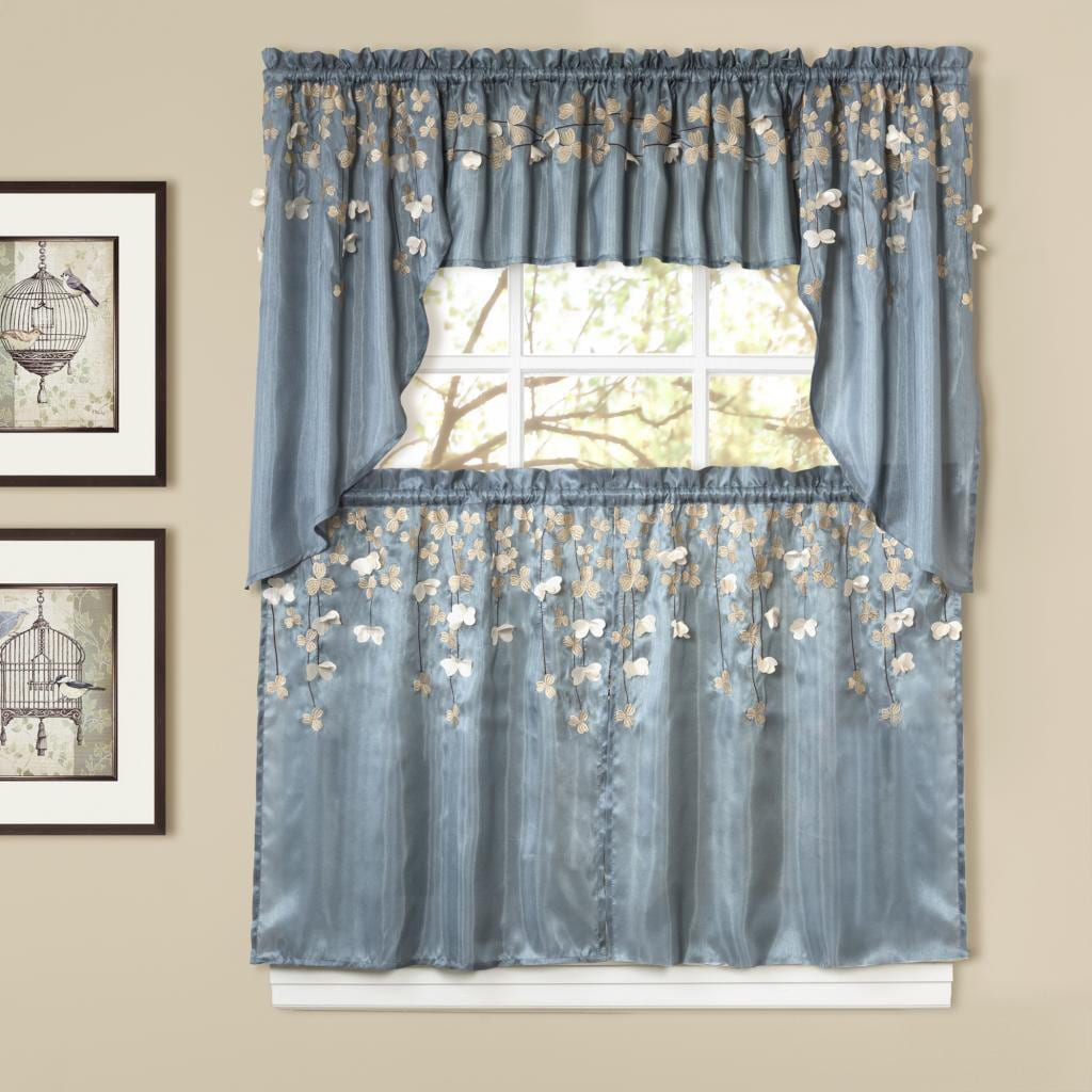Lush Decor Flower Drops Blue Tiered Curtain Pair (As Is I...