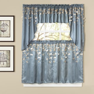 Lush Decor Flower Drops Blue Tiered Curtain Pair