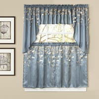Lush Decor Flower Drops Blue Tiered Curtain Pair