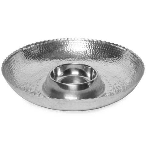 Hammered Aluminum 16-inch Chip & Dip Bowl