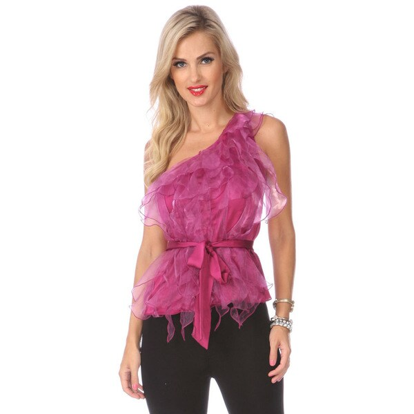 Stanzino Women's Magenta Ruffled Single Shoulder Top