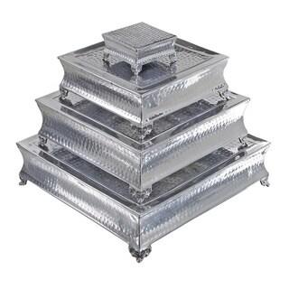 Casa Cortes Event Essentials Square Dimpled Wedding Cake Stands 4-piece Set