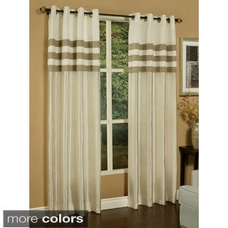 Sherry Kline Faux Silk Stripe Pleats Grommet Top Curtain Panel Pair