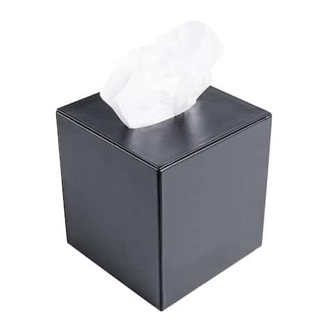 Black Leather Tissue Box Cover