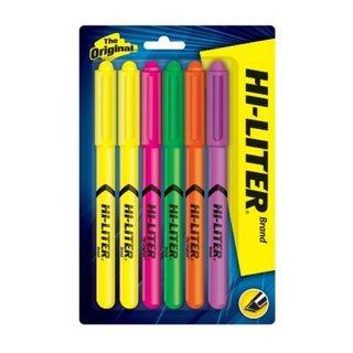 HI-Liter Fluorescent Pen Style Highlighter Chisel Tip 6/Set