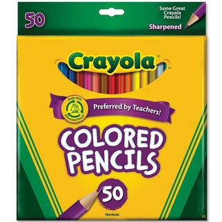 Crayola Long Barrel Colored Woodcase Pencils, 3.3 mm, 50 Assorted Colors/Set