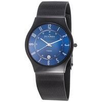 Skagen Men's Titanium Mesh Bracelet and Blue Dial Watch