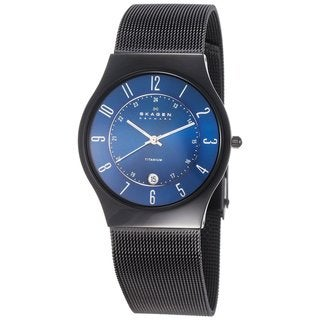 Skagen Men's Titanium Mesh Bracelet and Blue Dial Watch