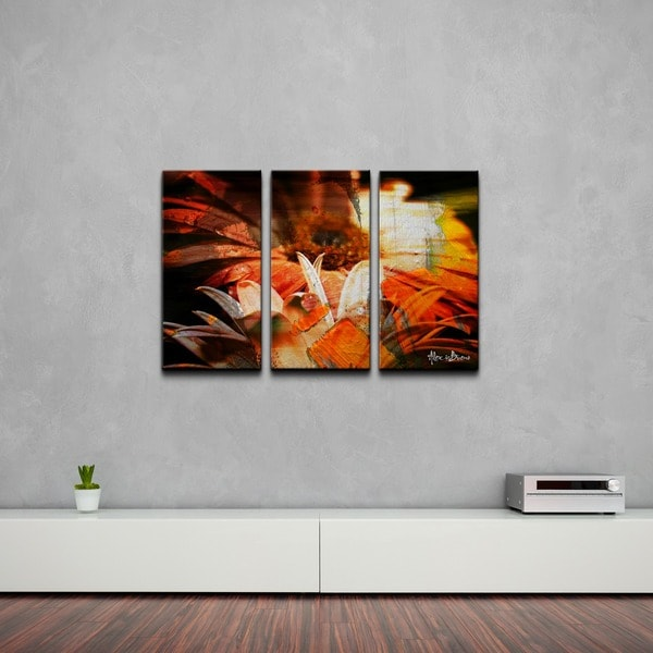 Ready2hangart 39 daisies 39 abstract canvas wall art 3 piece for 3 piece wall art