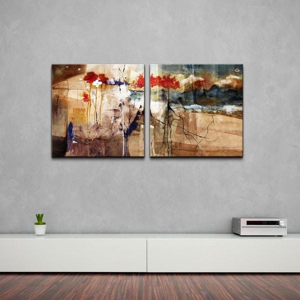 Ready2HangArt U0026#x27;Floralu0026#x27; Oversized Abstract Canvas Wall Art ...