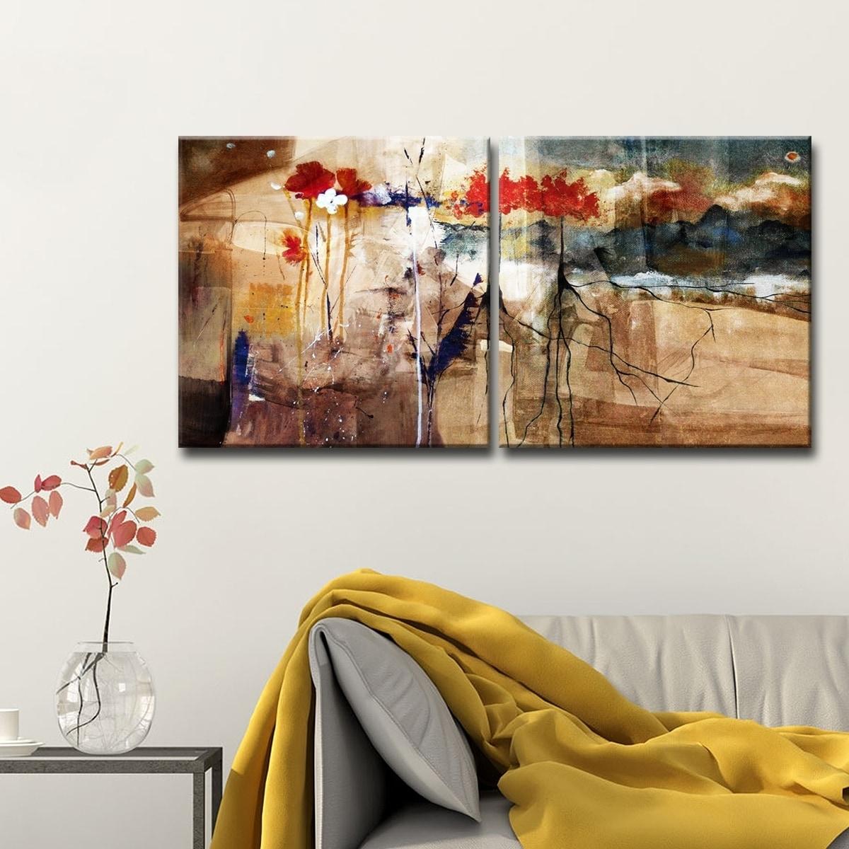 Ready2hangart Fl Oversized Abstract Canvas Wall Art 2 Piece Brown