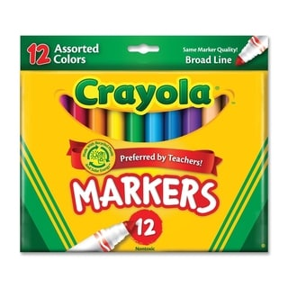 Crayola Non-Washable Markers Broad Point Classic Colors 12/Set