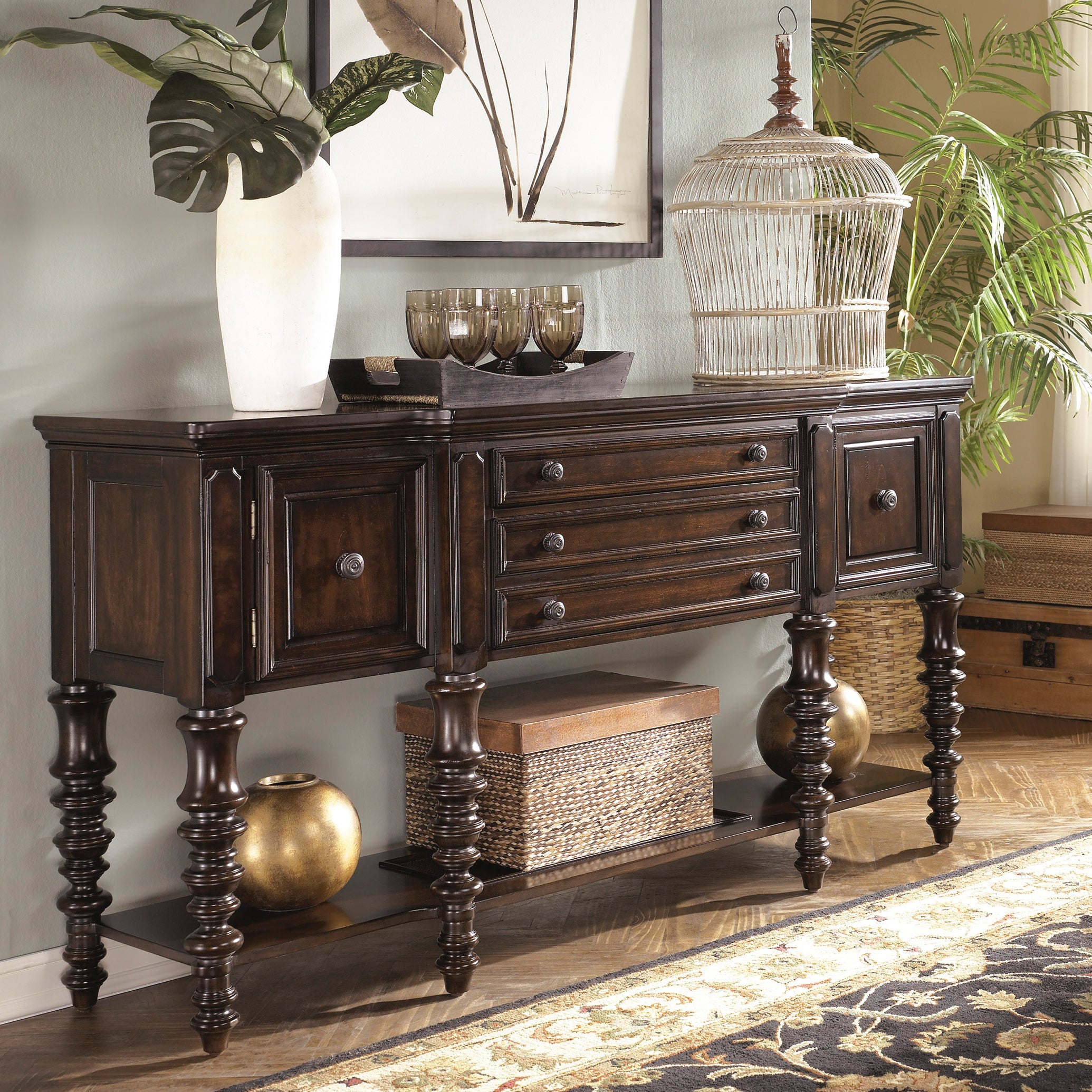 Signature design by ashley 39 key town 39 dark brown for Dining room server