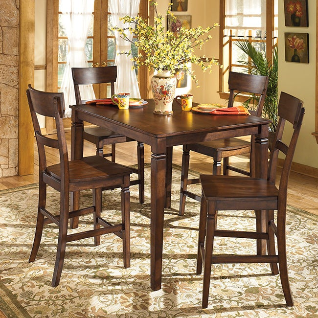 Signature Design By Ashley Barrister Rustic Brown Counter height 5 piece Dining Room Set