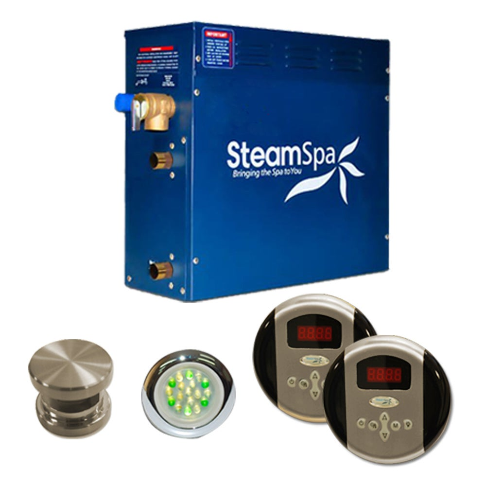 SteamSpa Royal 9kw Steam Generator Package in Brushed Nickel