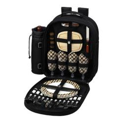 Picnic at Ascot Picnic Backpack for Four Black/London Plaid