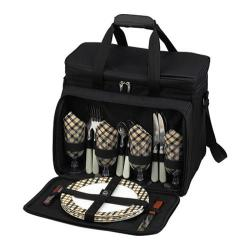 Picnic at Ascot Picnic Cooler for Four Black/London Plaid