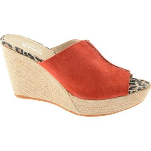 Women's Castell London Wedge Espadrille Red Suede