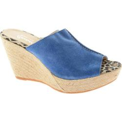 Women's Castell London Wedge Espadrille China Blue Suede