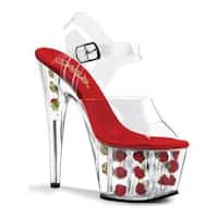 Women's Pleaser Adore 708FL Clear/Red