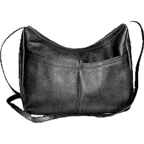 Women's David King Leather 1034 Top Zip Hobo Black