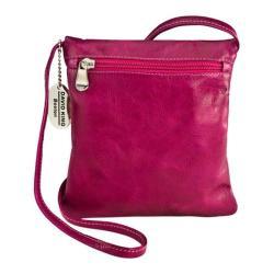 Women's David King Leather 3507 Florentine Top Zip Mini Bag Fuschia