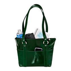 Women's David King Leather 3543 Florentine 6 Pocket Shopper Green