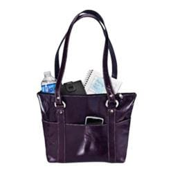 Women's David King Leather 3543 Florentine 6 Pocket Shopper Purple