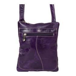Women's David King Leather 3598 Florentine Slim Shoulder Bag Purple