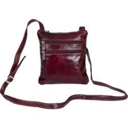Women's David King Leather 3734 Florentine Cross Body Bag Cherry