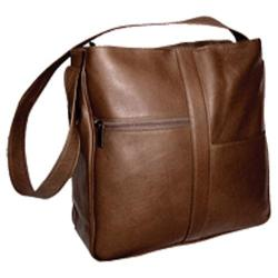 Women's David King Leather 820 Double Top Zip Shoulder Bag Cafe