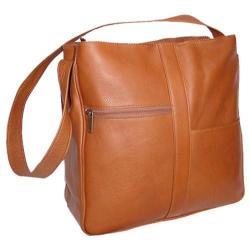 Women's David King Leather 820 Double Top Zip Shoulder Bag Tan