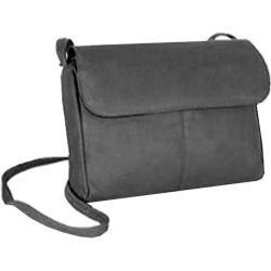 Women's David King Leather 522 Flap Front Handbag Black