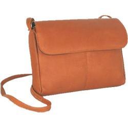 Women's David King Leather 522 Flap Front Handbag Tan