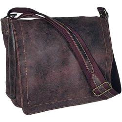 David King Brown Large Distressed Leather Laptop Messenger Bag