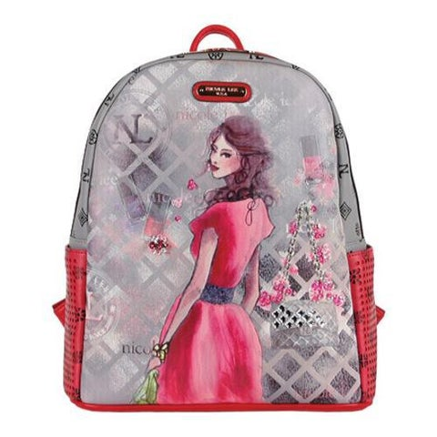 Women's Nicole Lee Daisy Print Backpack Red