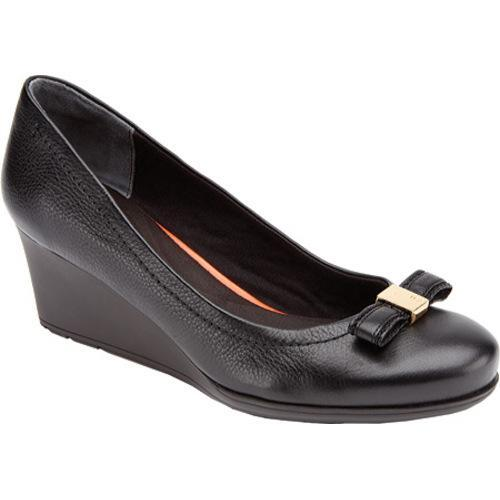 027cd730678 Thumbnail Women  x27 s Rockport Total Motion 60mm Bow Wedge Black Leather  ...