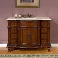 Silkroad Exclusive 48-inch Cream Marfil Marble Stone Top Bathroom Single Sink Vanity