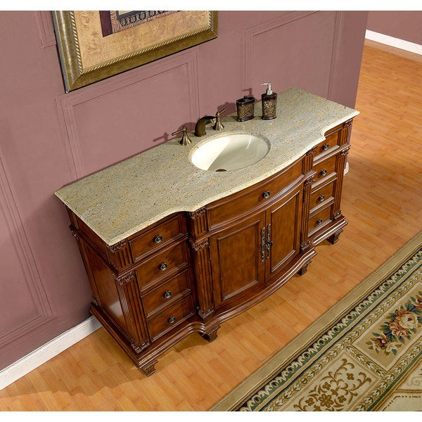 Silkroad Exclusive 60 Inch Kashmir Gold Granite Stone Top Bathroom Single Sink Vanity Free