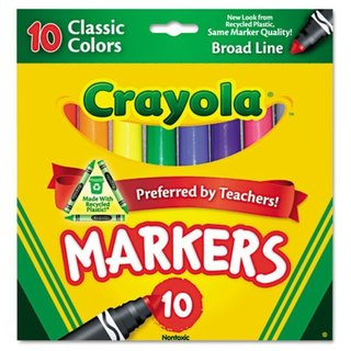 Crayola Non-Washable Markers Broad Point Classic Colors 10/Set
