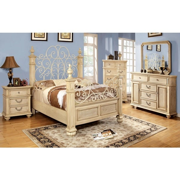 Shop 39 waldenburg 39 luxurious antique white 5 piece queen - White vintage bedroom furniture sets ...