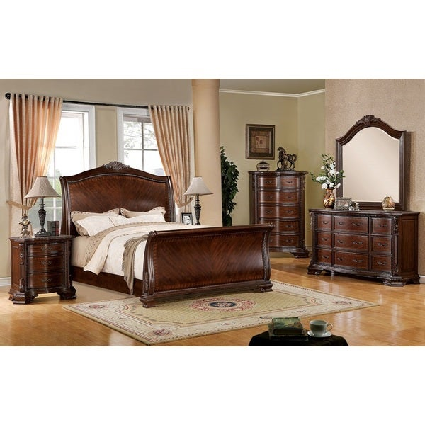 Cleveland Cherry Formal Traditional Antique Queen Bed 4pcs: Shop Penbrook Brown Cherry Traditional Queen Bedroom Set