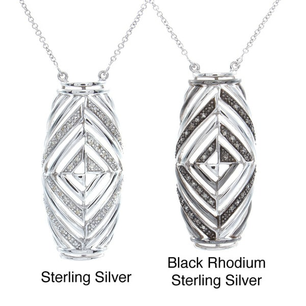 38bc143a2 Shop Victoria Kay Sterling Silver 1/10ct TDW Diamond Art Deco Style  Necklace (J-K, I2-I3) - Free Shipping Today - Overstock - 8401590