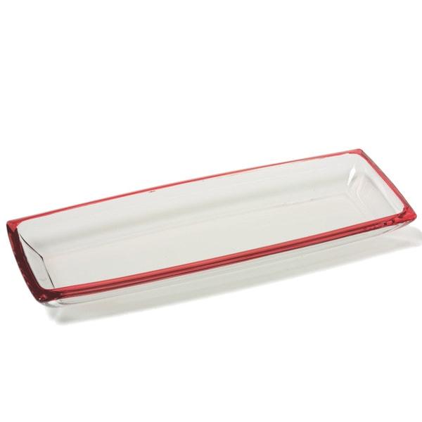 "Red Vanilla Freshness Mix & Match 16' x 6"" Red Glassware Platter"