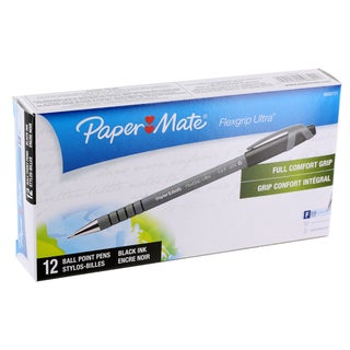 Paper Mate Flexgrip Ultra Ballpoint Stick Pens, Fine Point 0.8mm, Black Ink, pack of 12 (9680131)